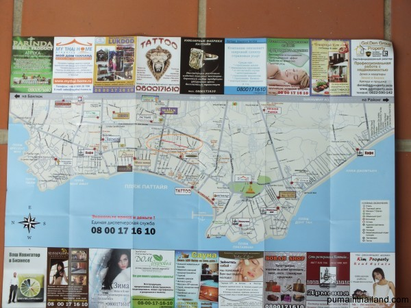 Карта Паттайи с сои Буакао