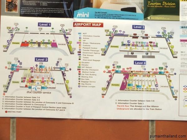 Скачать схему аэропорта Бангкока можно здесь, она представлена несколькими этажами.
