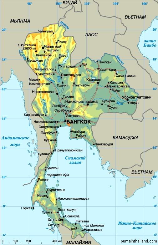 Геодезическая карта Тайланда на русском языке