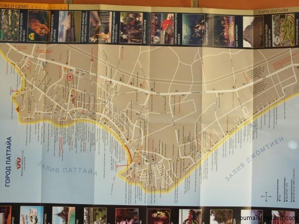 Карта Паттайи на русском с отмеченной автобусной станцией от Паттайи до аэропорта Суварнабхуми