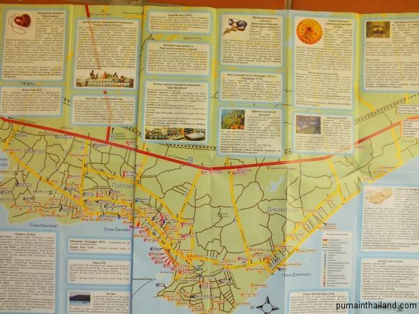 Схематичная карта Паттайи на русском с отелями