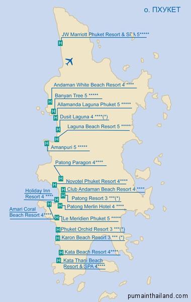 карта острова Пхукет с указанием всех отелей