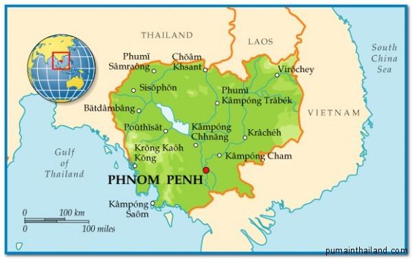 подробная карта государства Камбоджа