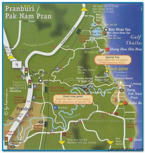 подробная карта острова Хуа Хин