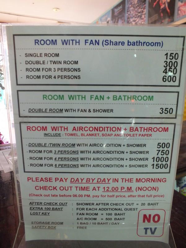 Цены на гестхаусы на Каосан в Бангкоке