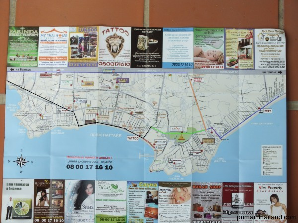 Ночной рынок на карте Паттайи с схема проезда на ночной рыной Паттайи