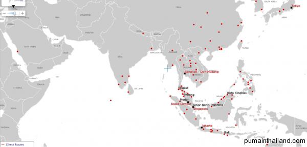 Карта городов куда летает airasia