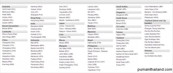 Список городов откуда и куда летает airasia