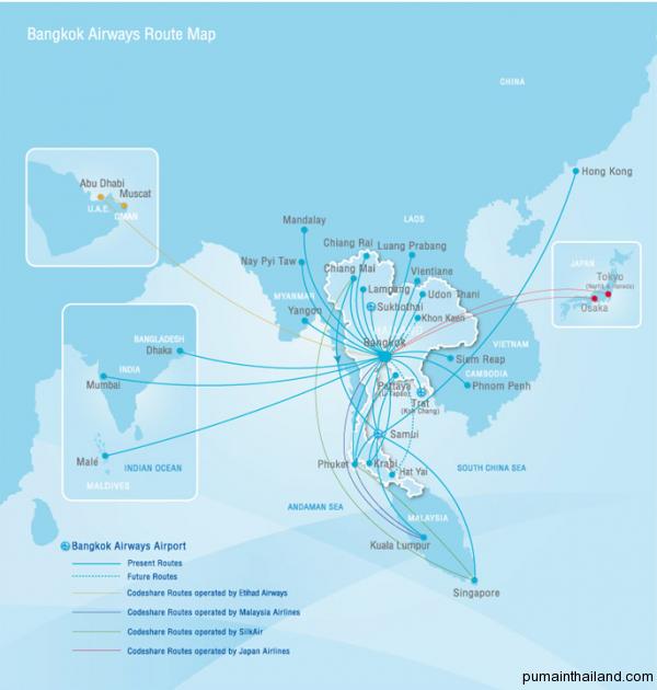 Карта полетов Bangkok Airways