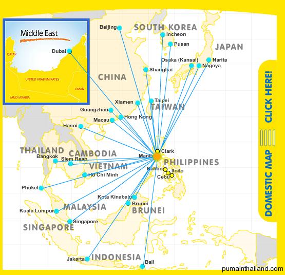Карта полетов Cebu Pacific Air с подсвеченным рейсами с Манилы