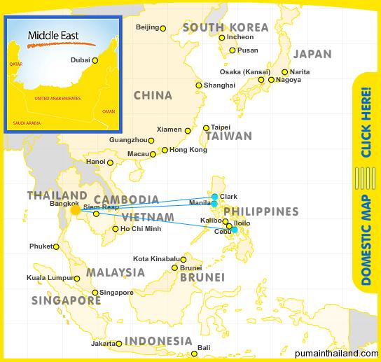 Карта полетов Cebu Pacific Air с подсвеченным рейсами с Бангкока