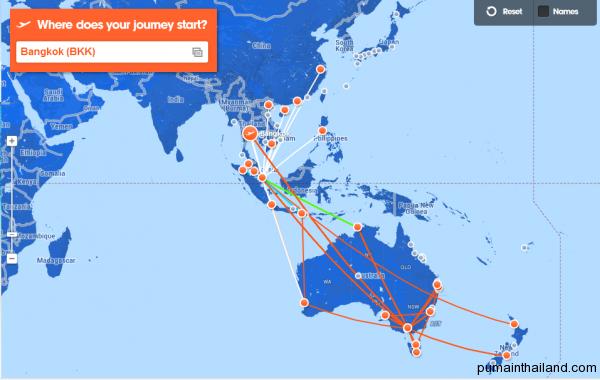 Карта полетов Джетстар, с подсвеченными маршрутами из Бангкока